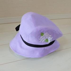 紫陽花と猫の刺繍入り帽子
