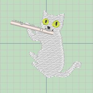フルートを吹く猫の刺繍★制作開始