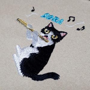 フルートを吹く猫★刺繍完成
