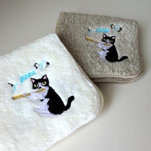 保護猫チャリティー企画★ソラちゃん刺繍ハンドタオル
