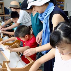 夏休みの1日竹島で手織り体験