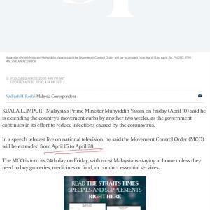 マレーシア MCO 再延長 (4 月28日まで、切実なる要望)
