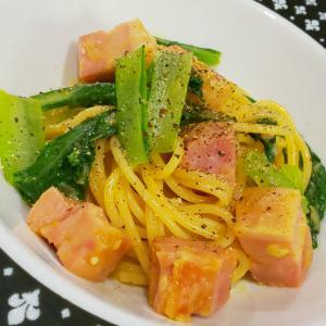 小松菜とミョウガのカルボナーラ