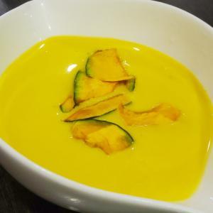 南瓜の冷製スープと素麺の和風ボロネーゼ