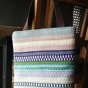 手織り(ラーヌ織り)の綿布でバック完成です