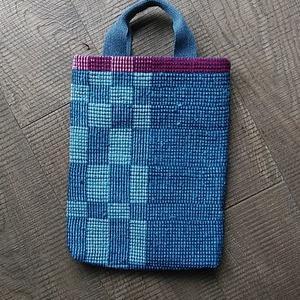 藍染手織り布をミニトートバッグに仕立てました
