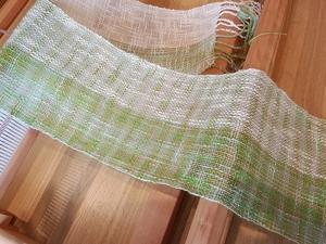 初めての手織物 綿ストール 完成です