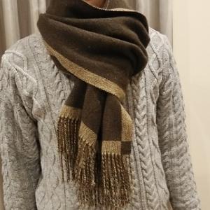 カシミヤマフラー昼夜織りで織りました リバーシブルになります