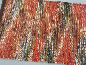 裂き織りのミニマット 昔懐かしの布団布を裂きました