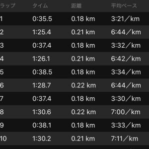 坂道インターバル走170m×10を3セット