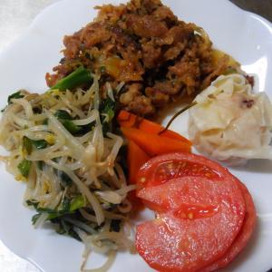今日の夕食 肉と野菜炒め