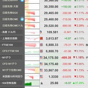 今日の株式市場は大幅安??