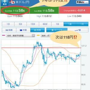 【ドル/円】7年ぶり113.5円の円安!MMFより預かり金の方がお得?