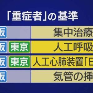 東京都が適切か?:「重症者」の基準:国・東京都・大阪府で異なる!!