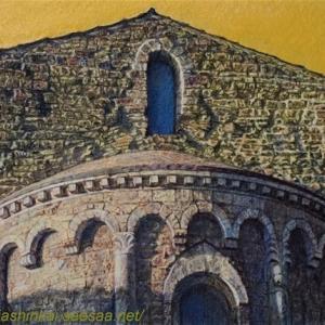 ・ 教会後陣 もう一度 と、 トスカーナの麦秋風景 古い写真で