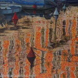 ・ 水面風景 途中経過と、 テレマコ・シニョリーニという画家の作品
