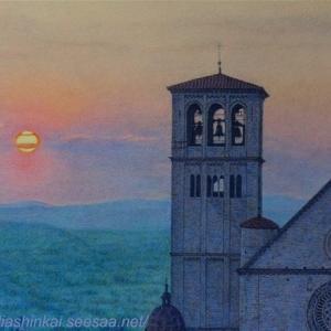 ・ アッシジの夕暮れ 途中経過と、ヴェネツィア・赤い小さな家、著名文化人の住まい
