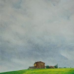 ・ トスカーナ風景 仕上げと、 枯れ葉のアート。 そしてブログのお休みを