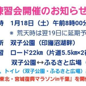 【宣伝】1/18の印旛練は印旛沼22kmフリーラン♪&初めての館山若潮マラソンはビールマン♪
