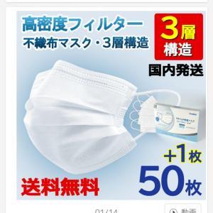 マスク購入!安い(っ´ω`c)51枚775円