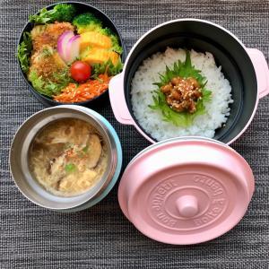 スープジャー弁当作り「白身魚フライとふかひれスープ弁当」