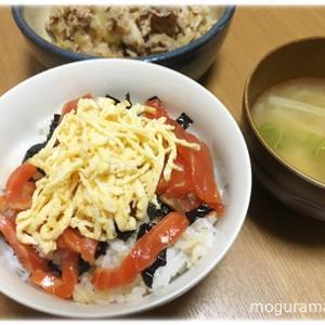 サーモンの漬け丼/豚マヨ丼