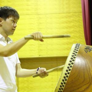 地元の盆踊り大会に向けて太鼓を練習しています❗️