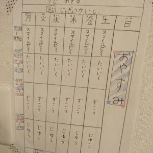 臨時休校初日。夢の時間割表!
