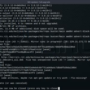 MX Linux(VMware仮想マシン)のパッケージアップデートでエラー