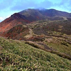 くじゅう、扇ケ鼻と肥前ケ城との谷間の紅葉を見にp6(星生山の赤く輝く紅葉v2)