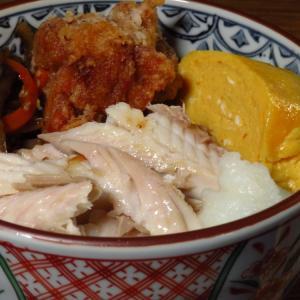 ほぐした焼きほっけと甘めのだし巻き卵と鶏からに太めのきんぴらごぼう丼の置き弁。