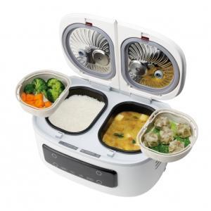 1度に2つの調理ができる自動調理鍋