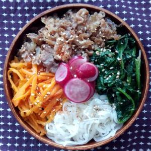 6月のお弁当(ビビンバ丼)