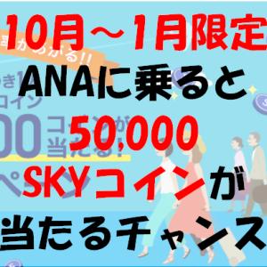<2020年10月~2021年1月搭乗限定>ANAに乗ると毎月100人に1人 50,000SKYコインが当たるチャンス!!