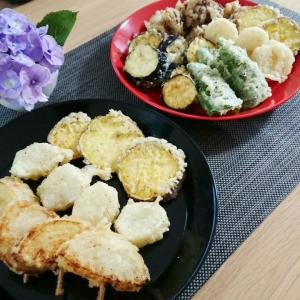 【晩ご飯】天ぷらと茶そば★食後の果物はキウイをいただきました♪