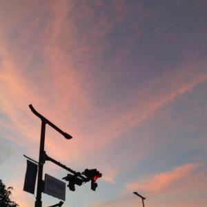 長岡京駅前 薔薇色の夕焼け