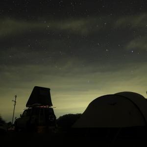 雲が多い逢魔が時の夕焼け~漆黒の空から星降る空へ 【今シーズンクローズ前のフル設営訓練キャンプ】