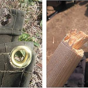 【衝撃!!】ウッドポール折損 & ミリタリーキャンパスタープ破断 [1] ウッドポール破損と速やかな対応サービス