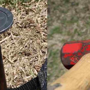 ペグ打ちの手間軽減のための二つの方向 踏んづけるペグと重量級両口ハンマー ~今季初のツンデレフィールド内山牧場②~