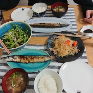 新米と秋刀魚の塩焼