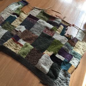 夏に向かうこの季節にウールのカーディガンを編むのか(13)後ろ身頃もできて