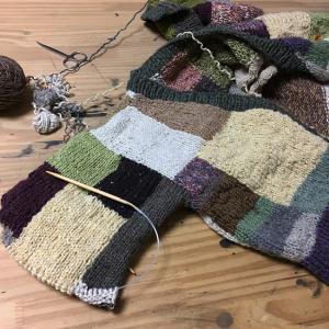 夏に向かうこの季節にウールのカーディガンを編むのか(19)袖の途中