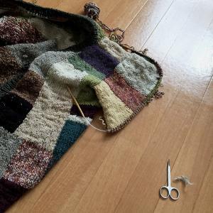 夏に向かうこの季節にウールのカーディガンを編むのか(24)左袖の途中