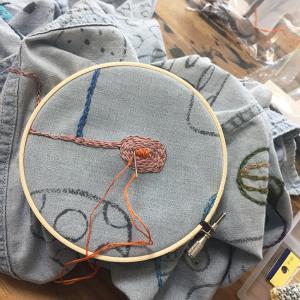墨絵シャツを刺繍で埋め尽くす(6)ぐるぐる、つぶつぶ