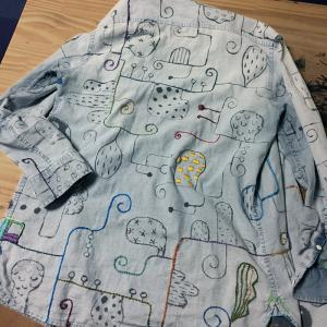 墨絵シャツを刺繍で埋め尽くす(7)後ろの全貌