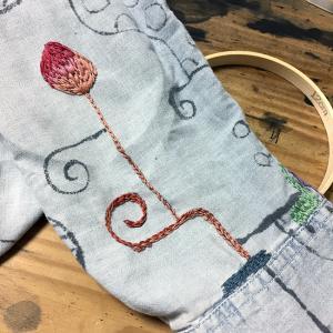 墨絵シャツを刺繍で埋め尽くす(9)ちょっと刺繍っぽい?