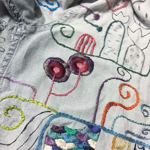 墨絵シャツを刺繍で埋め尽くす(35)糸の重さ