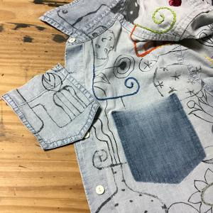 墨絵シャツを刺繍で埋め尽くす(36)シャツ改造計画