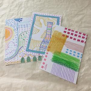 手描きの色鉛筆画カード