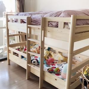 【子育て/2段ベッド】国産檜のいい香りでスヤスヤ…角が丸くて仕上げも綺麗だった。
